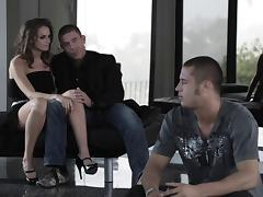 In her knee high boots, Dani Jensen looked great on top of a cock