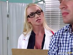 Doctor in heels and stockings is cock crazy in the exam room