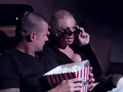 Jesse Jane give blowjob and gets banged hardcore in movie theater