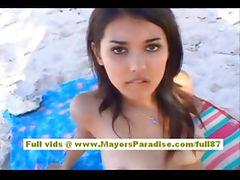 Maria Ozawa asian babe is fucking two guys on the beach