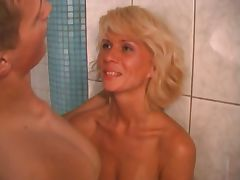 RUSSIAN MOM 14 blonde matre with a young supplicant