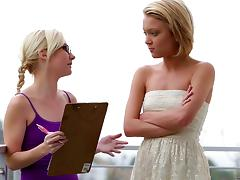 Erotic blindfolded foreplay between blonde lesbian girlfriends