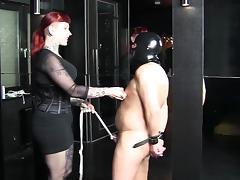 Femdom video with a hot slut punishing a slave