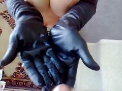 Cum all over her leather gloves