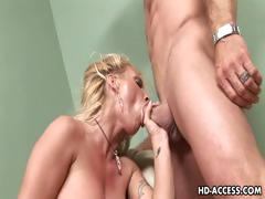 Busty blond whore massive cumshot and fuck