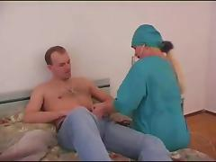 Vixenish doctor gives her horny patient a special exam