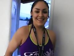 Cowgirl creampie ride, after a workout at the gym.