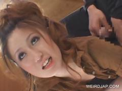 Redhead asian shows undies upskirt