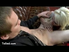 Huge hooters blonde tranny fucks dude up his ass in office