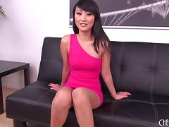Skinny Asian Evelyn Lin masturbating and eaten out erotically