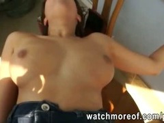 Big tits amateur brunette paid and deeply pounded