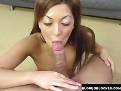 Really hot brunette sucks cock
