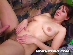 Hairy brunette stepmom meeting her young stepsons big dick