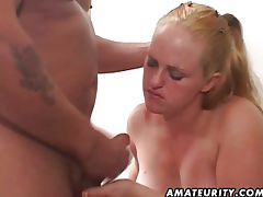 Chubby babe sucking a cock then riding