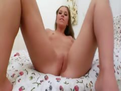 hot blonde with red butthole toy