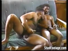 Ebony gay men fuck on the couch