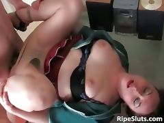 Mature maid sucks on young boy cock part6