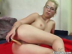 Blonde slut with glasses having fun part5