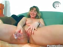 Horny MILF brunette piss and fuck her part1