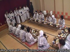 Subtitled Japanese milfs group foreplay dining party