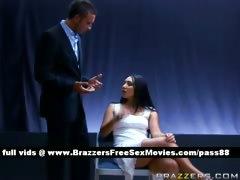 Young brunette girl gets interrogated
