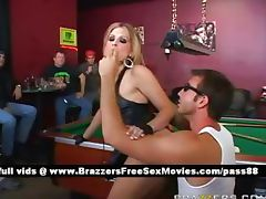 Amateur blonde slut in a bar plays pool