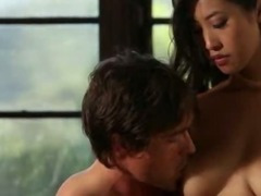 Busty asian babe Sharon Lee sensual love making on her bed