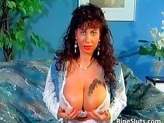Gorgeous mega boobed mature slut uses