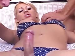 Hot threesome for eager tranny
