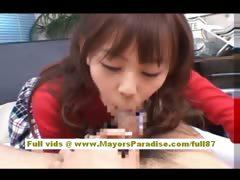 Japanese AV model gives a hot blowjob