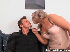 Chubby blonde MILF sucks hard cock