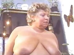 BBW Oma takes on 2 guys
