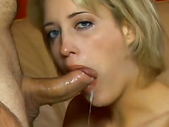 Blonde is a cock swallowing slut