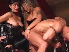 Hot Dominatrices Drilling Santa's Ass With Huge Strapons In Femdom