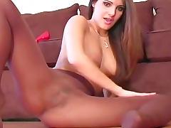 Sheer pantyhose girl talks dirty