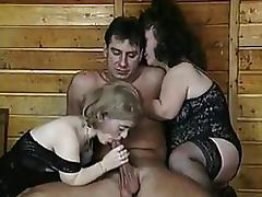 Bizarre Threesome With Two Mature Lesbian Midgets In Sexy Lingerie