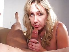 Busty mature blonde blowjob