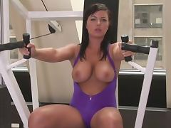 Big Boobed Beauties Working Out and Doing Aerobics in the Gym