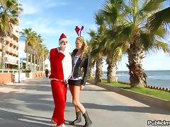 Santa Claus Gets Lucky Fucking Hot Blonde Babe Ivana Sugar Outdoors