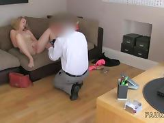 Blonde amateur gets facial in office