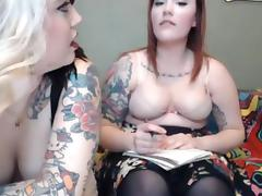 2 chubby tattoo sluts having fun on webcam