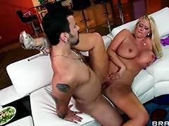 Horny blond mother I'd like to fuck Karen Fisher is slammed on the bed