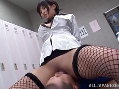 Japanese girl in fishnets gets toyed in a locker room