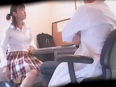 Japanese cutie fucked and creamed in spy cam hardcore video