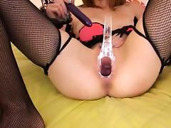 Gyno toys and peeing of her nasty cunt