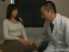 Doctor is going to cure Rina Itou's tight Asian pussy