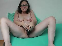 German MILF playing with the brush huge dildo