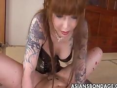 Rough Asian mistress plows her lovable slave