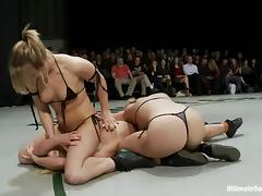 A few salacious nude lesbians enjoy beating each other on tatami