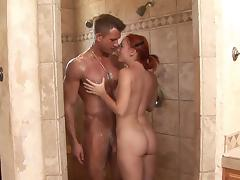 Redhead beauty Dani Jensen is sucking a dick